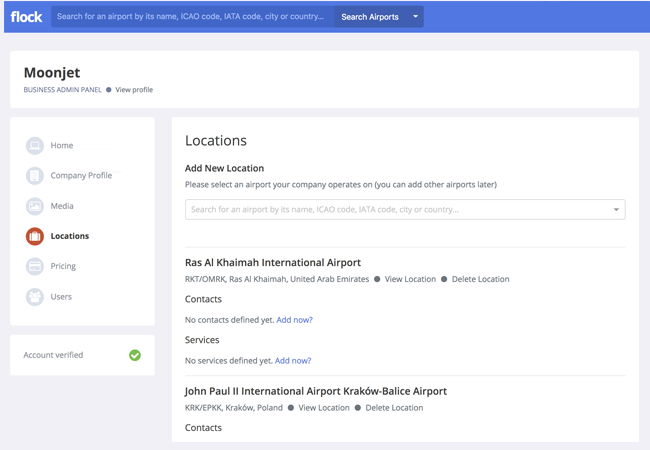 Business Admin Panel with Locations page active
