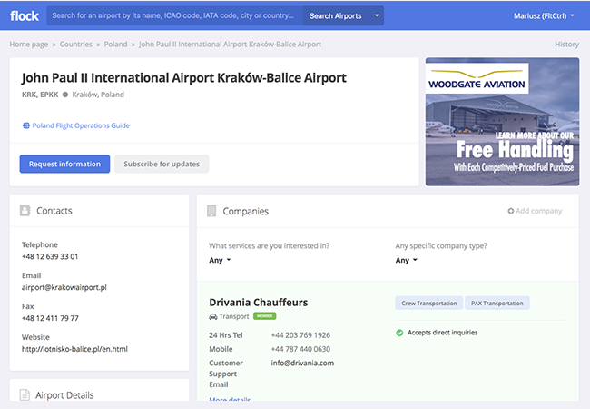 Screenshot of company advertising on Airport page