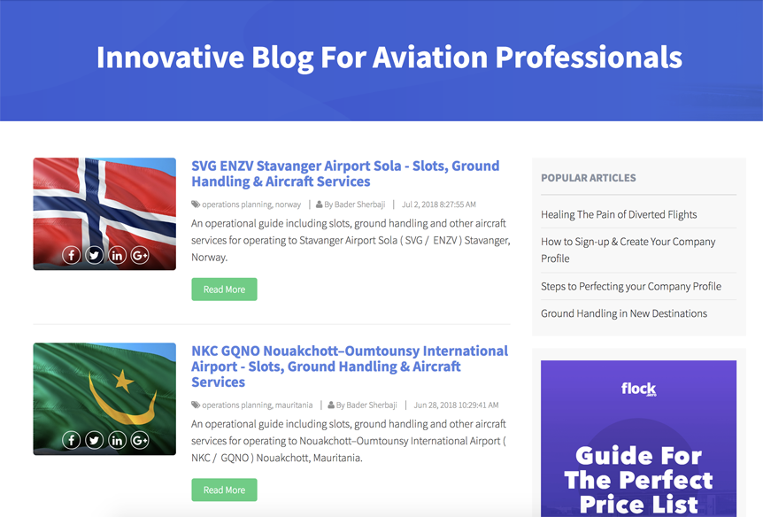 Screenshot of blog.flock.aero featuring a company