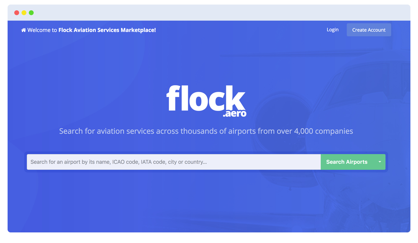 Flock.aero home page screenshot with search input field