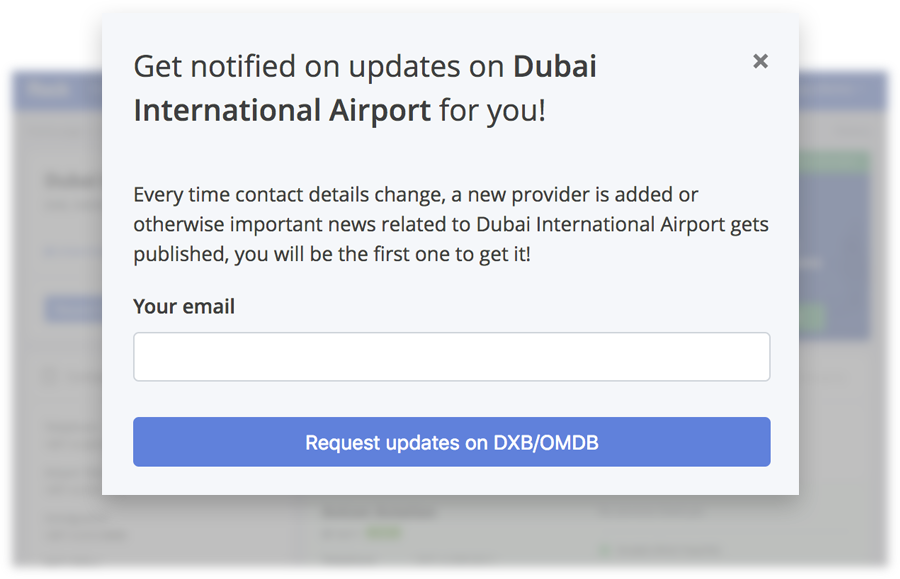 Screenshot of modal window allowing user to subscribe for updates on particular airport