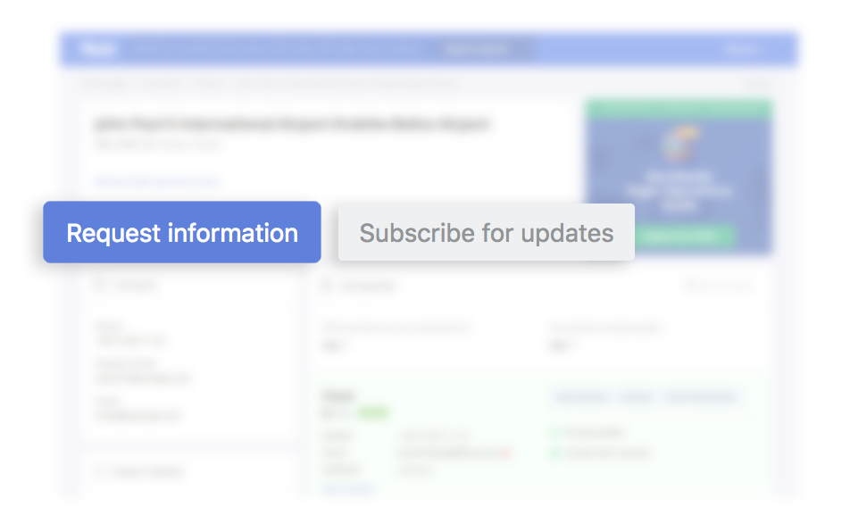Depiction of 'Request information' and 'Subscribe for updates' buttons