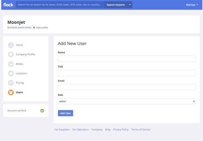 Screenshot of form allowing to add multiple users of the company profile